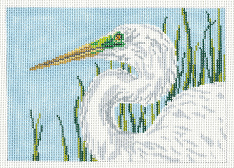 Canvas~Elegant White Egret Bird handpainted Needlepoint Canvas~by Needle Crossings