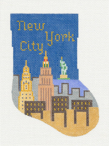 Stocking~New York City Mini handpainted Needlepoint Canvas~by Silver Needle