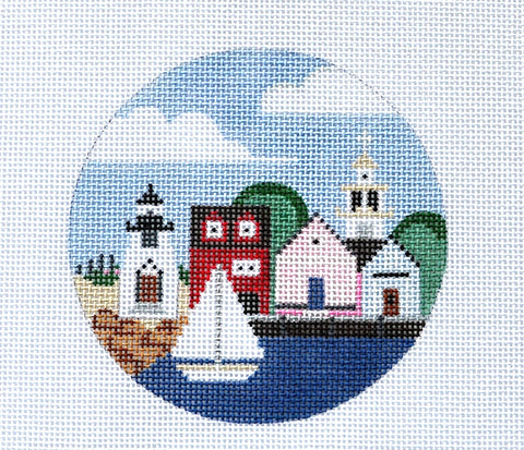 "Round~ Nantucket Island, MA  4"" round handpainted Needlepoint Canvas by Painted Pony"