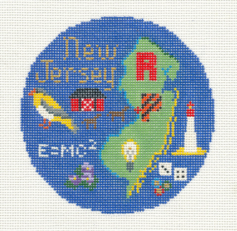 "Round~4.25"" New Jersey handpainted Needlepoint Canvas~by Silver Needle"