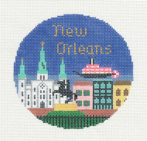 "Round~4.25"" New Orleans, Louisiana handpainted Needlepoint Canvas~by Silver Needle"