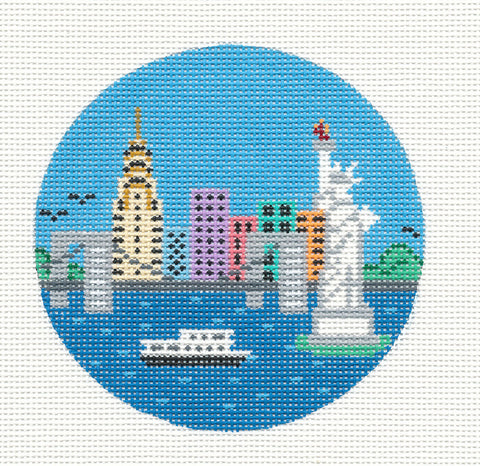 "Round~4"" New York City~Destination round handpainted Needlepoint Canvas~by Painted Pony  **MAY NEED TO BE SPECIAL ORDERED**"