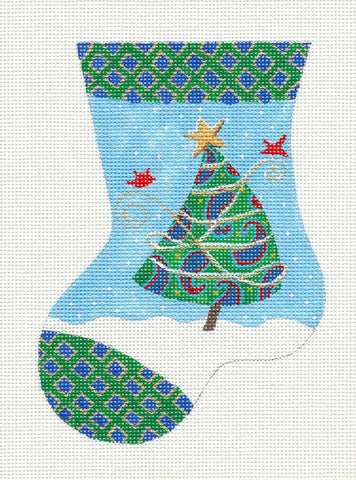 Stocking~ Cardinals Christmas Tree Mini Stocking Needlepoint Canvas Juliemar