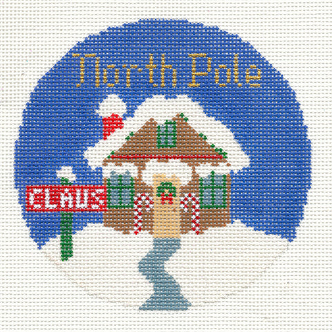"Round~4.25"" North Pole handpainted Needlepoint Canvas~by Silver Needle"