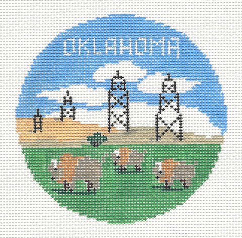 Travel Round~Oklahoma handpainted Needlepoint Canvas~by Kathy Schenkel**MAY NEED TO BE SPECIAL ORDERED**
