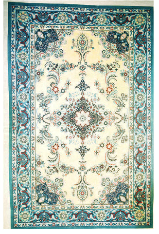 Rug~LG. Blue & White Persian Design Handpainted by LEE Needle Art ~ 10 Mesh