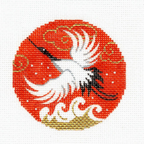 "Round~LEE Oriental Flying Wedding Crane handpaint Needlepoint Canvas Ornament 3"" Rd."