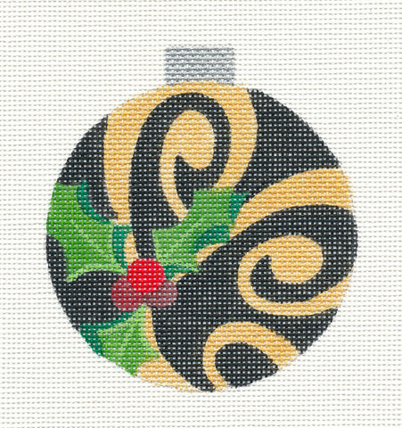 Round~Holly with Gold on Black Ornament handpainted Needlepoint Canvas by Raymond Crawford