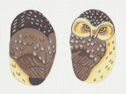 2 Sided Woodland Owl Scissor Case handpainted Needlepoint Canvas ~ by Susan Roberts
