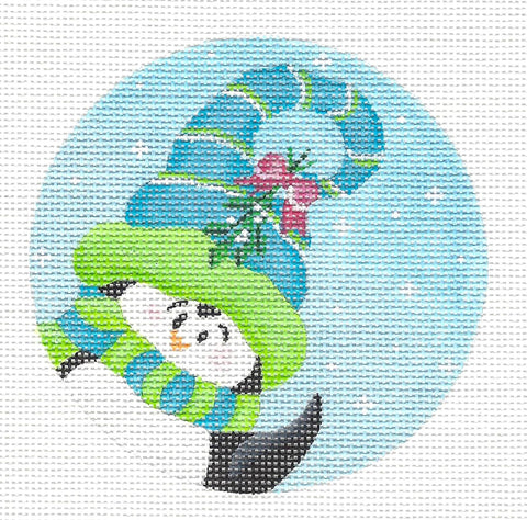 Round~Penguin in Blue Hat-18 Mesh handpainted Needlepoint Canvas~by Pepperberry