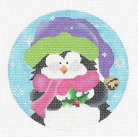 Round~Penguin in Pink Scarf-18 Mesh handpainted Needlepoint Canvas~by Pepperberry