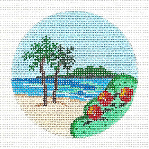 "Round~4"" Hawaii~ Destination handpainted Needlepoint Canvas~by Painted Pony"