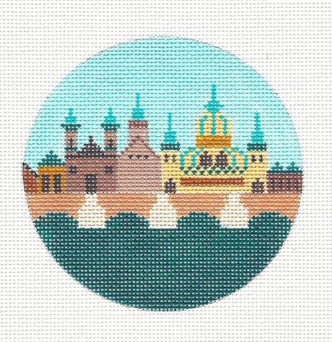 "Round~4"" Hungary~ Destination round handpainted Needlepoint Canvas~by Painted Pony  **MAY NEED TO BE SPECIAL ORDERED**"