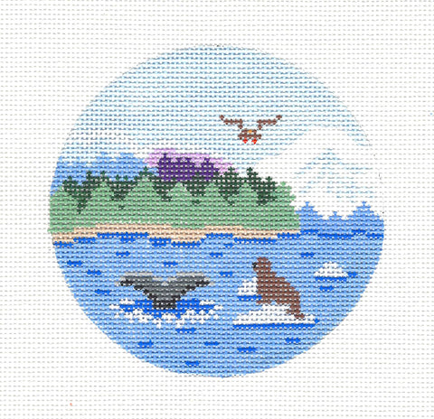 "Round~4"" Alaska ~ Destination Needlepoint Canvas by Painted Pony ***SPECIAL ORDER***"