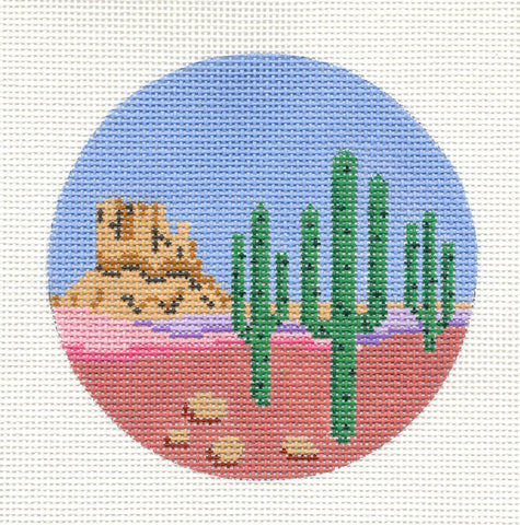 "Round~4"" Arizona ~ Destination handpainted Needlepoint Canvas~by Painted Pony  **MAY NEED TO BE SPECIAL ORDERED**"
