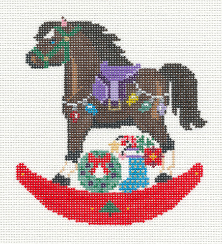 Canvas~Brown Holiday Rocking Horse handpainted Needlepoint Canvas~by Painted Pony  **MAY NEED TO BE SPECIAL ORDERED**