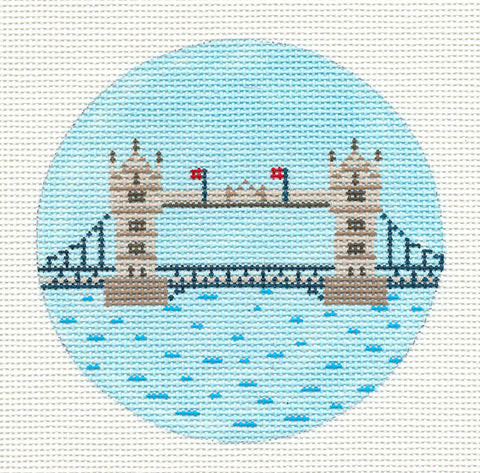 "Round~4"" London~Destination round handpainted Needlepoint Canvas~by Painted Pony  **MAY NEED TO BE SPECIAL ORDERED**"
