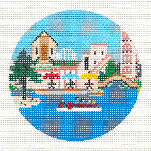 "Round~4"" San Antonio~ Destination round handpainted Needlepoint Canvas~ by Painted Pony Designs  **MAY NEED TO BE SPECIAL ORDERED**"