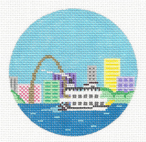 "Round~4"" St. Louis~ Destination round handpainted Needlepoint Canvas~by Painted Pony Designs  **MAY NEED TO BE SPECIAL ORDERED**"