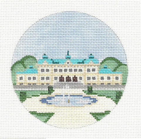 "Round~4"" Sweden~ Destination round handpainted Needlepoint Canvas~by Painted Pony Designs  **MAY NEED TO BE SPECIAL ORDERED**"