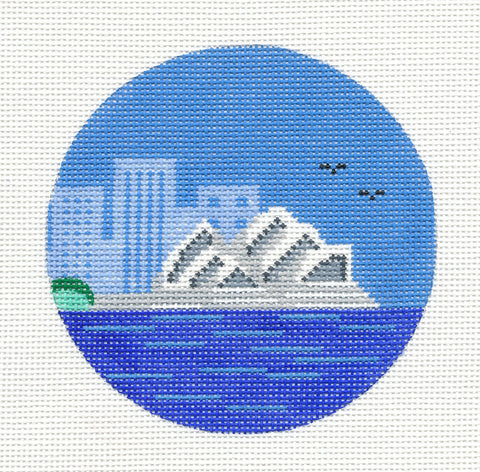 "Round~4"" Australia ~Sydney  Destination handpainted Needlepoint Canvas~by Painted Pony"
