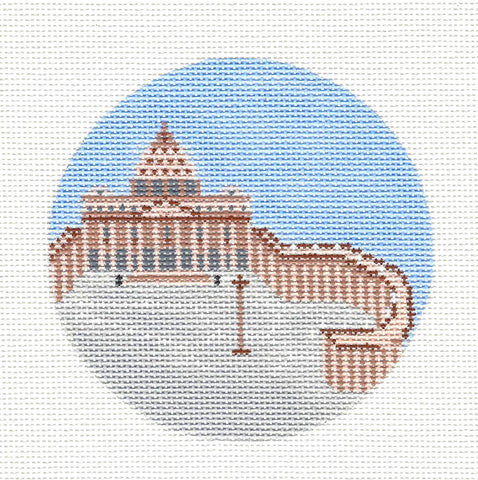 "Round~4"" Vatican City~Destination round handpainted Needlepoint Canvas~by Painted Pony Designs  **MAY NEED TO BE SPECIAL ORDERED**"