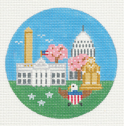 "Round~4"" Washington DC~Destination Rd. & SG handpainted Needlepoint Canvas~by Painted Pony Designs  **MAY NEED TO BE SPECIAL ORDERED**"