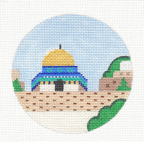 "Round~4"" Israel~ Destination round handpainted Needlepoint Canvas~by Painted Pony  **MAY NEED TO BE SPECIAL ORDERED**"