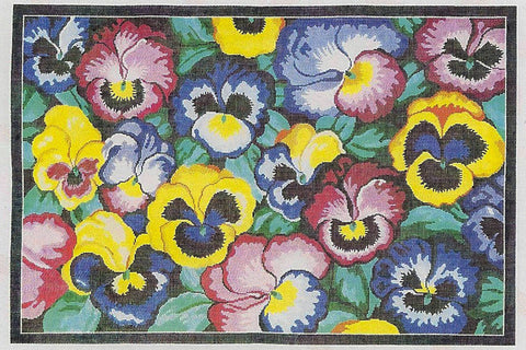Rug~Pansy Blossoms Handpainted Needlepoint Rug by LEE Needle Art ~ 12 Mesh