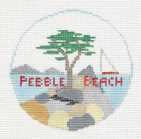 Travel Round~Pebble Beach California handpainted Needlepoint Canvas~by Kathy Schenkel**MAY NEED TO BE SPECIAL ORDERED**