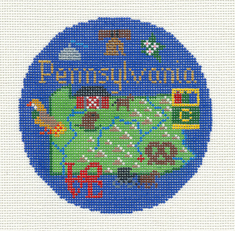 "Round~4.25"" Pennsylvania handpainted Needlepoint Canvas~by Silver Needle"