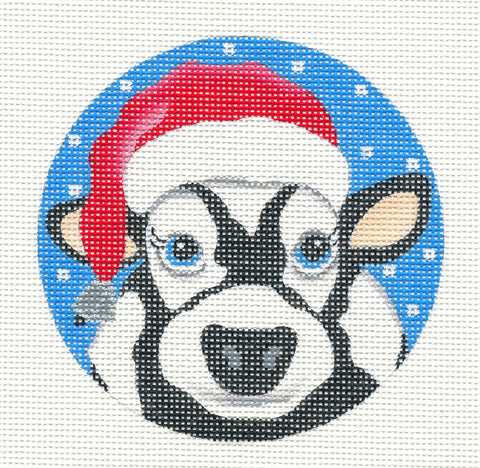 Round~Santa Cow-18 Mesh handpainted Needlepoint Canvas~by Pepperberry