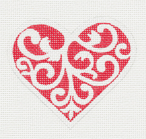 Heart~Red and White Scroll Heart-18 Mesh handpainted Needlepoint Canvas~by Pepperberry