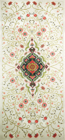 Rug~ Persian Medallion on Cream Runner Handpainted by Lee Needle Art 12 Mesh
