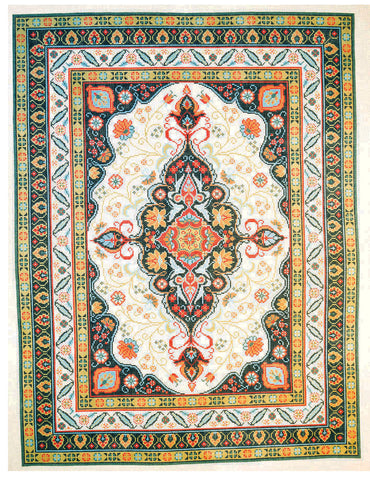 Rug~ Large Persian Blue & Coral Design Handpainted by LEE Needle Art ~ 10 Mesh