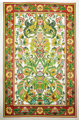 Rug~Large Persian Green Multi-Color Handpainted by Lee Needle Art 12 Mesh ~ SO
