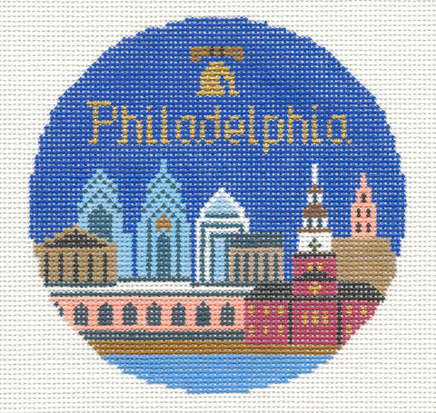 "Round~4.25"" Philadelphia handpainted Needlepoint Canvas~by Silver Needle"