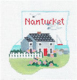 Canvas~NANTUCKET & WHALE SET ~ HP Needlepoint Ornament & Whale by Kathy Schenkel