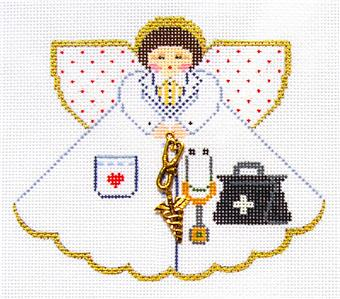 Angel~ Medical Doctor Angel handpainted Needlepoint Canvas Ornament Painted Pony **MAY NEED TO BE SPECIAL ORDERED**