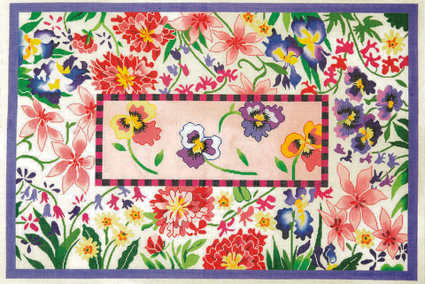 Rug~ Floral Summertime in Pink & Purple Handpainted by LEE Needle Art 12 Mesh