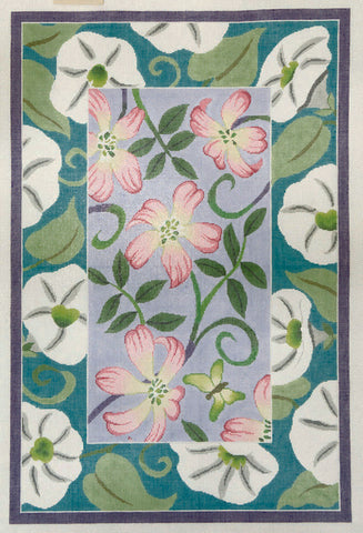 Rug~ Pink & White Morning Glory Floral Handpainted by Lee Needle Art ~ 12 Mesh
