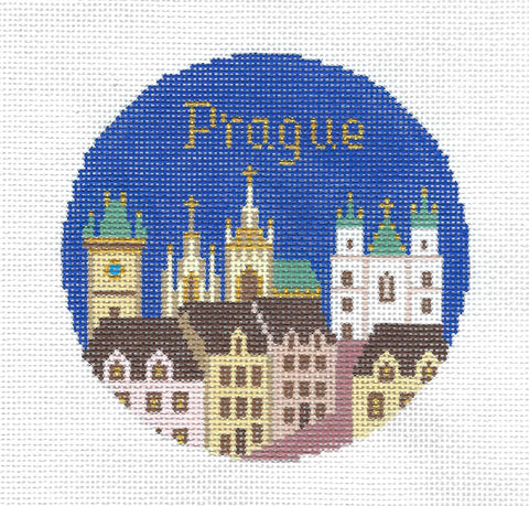 "Travel Round ~ Prague, Czech Republic handpainted 4.25"" Needlepoint Canvas by Silver Needle"