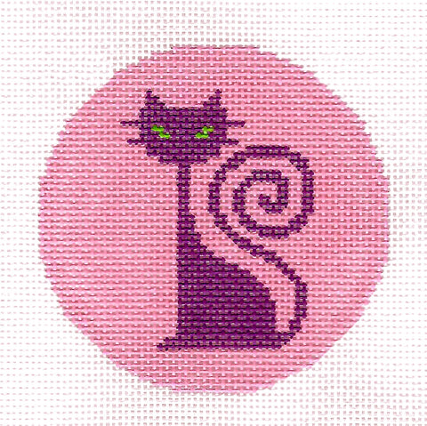 "Cat canvas ~ Purple Cat on Pink 3"" handpainted Needlepoint Canvas Ornament or Insert by LEE"