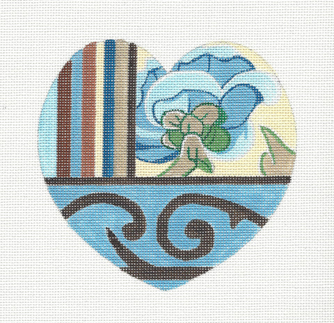 Heart~Blue Floral Heart Ornament handpainted Needlepoint Canvas by Raymond Crawford