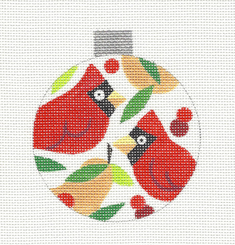 Round~Two Cardinals Ornament handpainted Needlepoint Canvas by Raymond Crawford