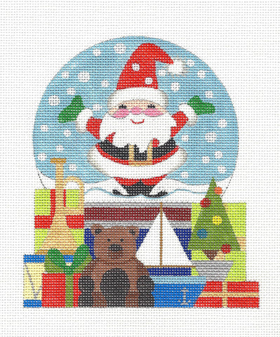 Christmas~ Snow Globe Santa and Toys handpainted Needlepoint Canvas by Raymond Crawford
