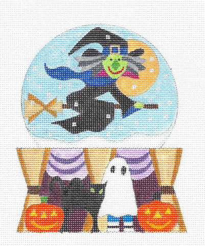 Halloween~Snow Globe Witch handpainted Needlepoint Canvas by Raymond Crawford