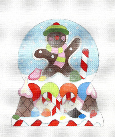 Christmas~ Snow Globe Gingerbread Man handpainted Needlepoint Canvas by Raymond Crawford
