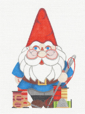 Canvas~Stitching Gnome handpainted Needlepoint Canvas by Raymond Crawford