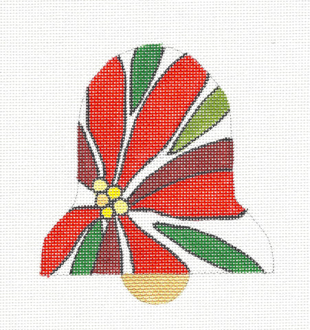 Bell~Red Poinsettia Bell Ornament handpainted Needlepoint Canvas by Raymond Crawford